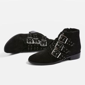 TOPSHOP Krown Black Suede Leather Studded Boots